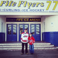 My son Arran & I, Scottish Caniacs. Representing the #Canes at Fife Ice Arena, Kirkcaldy, Scotland (from Paul L. on Twitter).