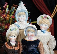 """The Lifelong Collection of Berta Leon Hackney: 532 Four German Bisque """"Bonnet"""" Dolls by Hertwig"""