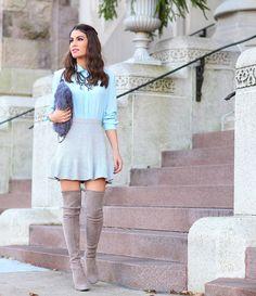Meu look pro Thanksgiving camila coelho Blusa: Kaele | Saia: Urban Outfitters | Bota: Stuart Weitzman | Bolsa: Carol Bassi