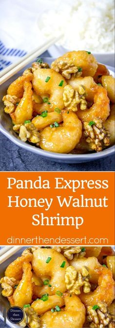 Panda Express Honey Walnut Shrimp - Dinner, then Dessert Panda Express Honey Walnut Shrimp are fried with a tempura batter and quickly tossed in a honey sauce and sweetened walnuts. Fish Recipes, Seafood Recipes, Asian Recipes, New Recipes, Chicken Recipes, Cooking Recipes, Healthy Recipes, Shrimp Dinner Recipes, Seafood Meals