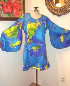 MOD Hawaiian PUFFY Sleeves Cruise Island..Resort 70s Mini Dress