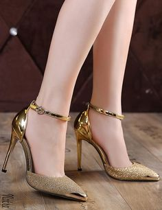 Womens Pointed Toe Sequins Wedding Pumps Ankle Straps Stilettos Shoes Party New in Clothing, Shoes & Accessories, Women's Shoes, Heels Stiletto Shoes, High Heels Stilettos, Shoes Heels, Gold High Heels, Dress Shoes, Frauen In High Heels, Giuseppe Zanotti Heels, Fancy Shoes, Fashion Heels