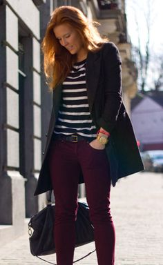 Plum and Burgundy jeans seem to come back around every fall/winter. Thank goodness for that. Not only is bordeaux versatile (fancy name for fancy pants), but the color is just so pretty.