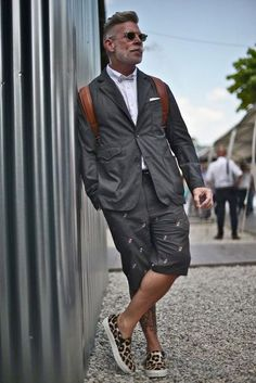 formal shorts & suit with slip on shoes men