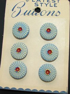 Vintage Buttons - 1960's Czech 6 Yellow/Blue hand painted Pansy Shell Buttons