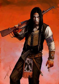 Human Native America/First Nations Ganger Apache Native American, Native American Warrior, American Indian Art, Apache Indian, Dark Fantasy, Fantasy Art, Character Inspiration, Character Art, Westerns