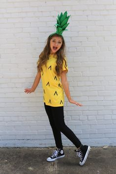 diy halloween costumes This post contains the best modest Halloween costumes for women. The costume ideas include DIY, Disney, dresses, and fun and creative ones too. One of the costumes is a pineapple costume. Pineapple Costume Diy, Modest Halloween Costumes, Tween Halloween Costumes For Girls Diy, Family Costumes, Group Costumes, Diy Halloween Costumes For Girls, Diy Costume For Women, Food Costumes For Kids, Cute Girl Costumes