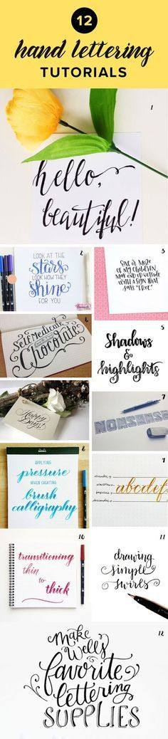 Want to learn hand lettering? Check out these 12 free tutorials and 12 online lettering courses that teach you everything from what supplies to get to improving your strokes and adding flourishes. Lettering Brush, Hand Lettering Fonts, Creative Lettering, Lettering Styles, Script Fonts, Calligraphy Letters, Typography Letters, Chalk Typography, Font Alphabet