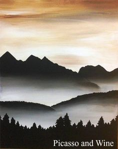 """Misty Mountains""  Let your inner artist shine at Picasso and Wine in Windsor. Sign up with your friends for a fun night, sip on some wine, and leave with a beautiful painting like this one! www.picassoandwine.com. Painting Classes 