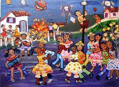 CONCEIÇAO SILVA TEMA FESTA JUNINA A VENDA COM AJUR SP (Painting),  30x40 cm por Arte Naif AJUR SP VENDEDOR E DIVULGADOR DA ARTE NAIF BRASILEIRA