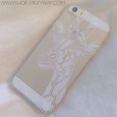 """Clear Plastic Case Cover for iPhone 6Plus (5.5"""") Henna Giraffe animal print lion tiger lover zoo"""