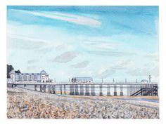 Penarth Pier Original Watercolour Painting by CCainsIllustration Painting Prints, Watercolour Paintings, Watercolors, Watercolor Landscape, Landscape Paintings, River Severn, Art Deco Buildings, Pebble Beach, South Wales