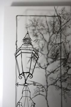 Lampost-Adelaide Art Gallery, 25 x 45cm, iron wire on painted wood and MDF