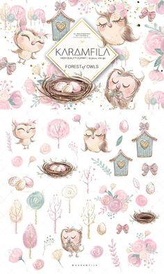 New cute bird clipart trees ideas House Illustration, Pencil Illustration, Graphic Illustration, Bird Clipart, Clipart Baby, Tree Clipart, Owl Parties, Owl Family, Owl Nursery