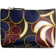 Marni Clutch (£210) ❤ liked on Polyvore featuring bags, handbags, clutches, dark blue, flower print handbags, 100 leather handbags, leather clutches, floral print purse and floral leather handbag