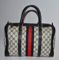 AUTH Vintage Gucci Doctors Bag Navy 70s EXCELLENT No Reserve #Gucci #Satchel