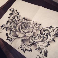 Rose Drawing Tattoo, Tattoo Design Drawings, Tatoo Art, Flower Tattoo Designs, Skull Rose Tattoos, Body Art Tattoos, Sleeve Tattoos, Belly Tattoos, Cute Tattoos