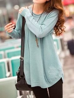 Blue Sweet New Autumn Fashion Women Knitting Round Neck Long Sleeve Sweater. Oversized sweaters with leggings or tights are all the rage Fall Fashion Outfits, Look Fashion, Womens Fashion, Curvy Fashion, Petite Fashion, Teen Fashion, Winter Outfits, High Fashion, Light Blue Dresses
