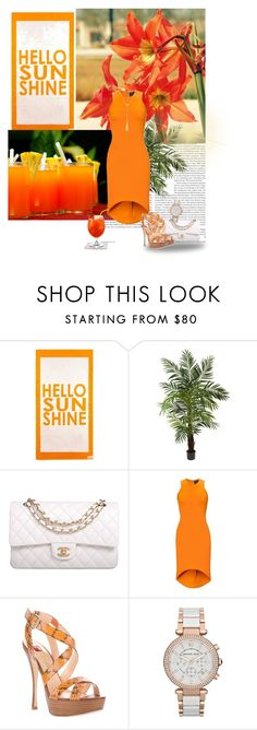 """""""show me a good time"""" by priscilla12 ❤ liked on Polyvore featuring Nearly Natural, Chanel, Josh Goot, Ballin, Michael Kors, Louise et Cie, Summer, orange, dress and Chanelbag"""