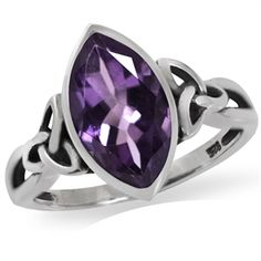 2.52ct. Natural Amethyst 925 Sterling Silver Triquetra Celtic Knot Solitaire Ring