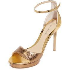 Monique Lhuillier Kiara Ankle Strap Sandals ($255) ❤ liked on Polyvore featuring shoes, sandals, gold, ankle strap platform sandals, ankle tie sandals, leather platform shoes, metallic leather sandals and metallic sandals