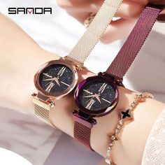 SANDA Simple Quartz Wristwatch for Women Watches Mesh Belt Ladies Watch Easy Magnet Clasp Rose Gold Stylish Clock montres femme From Touchy Style Outfit Accessories.| Variant: Black.