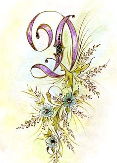D drop cap, victorian, floral, cmyk, script font, flourish, pre-vintage  Original description by person I pinned this from: Victorian Illuminated Letter