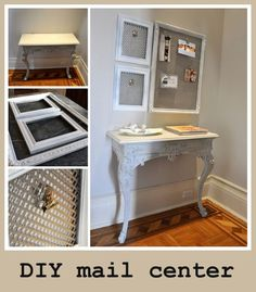 Great for pinning mail or important docs above desk.maybe use old earring rack Recycled Furniture, Home Furniture, Mail Center, Diy On A Budget, Staying Organized, Cool Diy, Cozy House, Large Table, Half Table