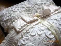 Exquisite French Corded Lace Ring Bearer Pillows- Gotta have this <3 it!