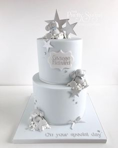 Cute elephant and stars Christening cake Baby Shower Cakes For Boys, Baby Boy Cakes, Girl Cakes, Baby Boy Christening Cake, Baby Boy Birthday Cake, Cupcakes, Elephant Cakes, Elephant Baby Shower Cake, Christening Decorations