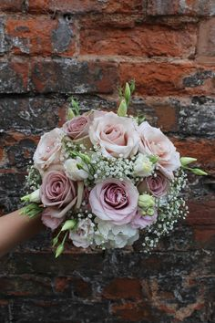 bridesmaid bouquet in and including - wedding - Rose And Gypsophilia Bouquet, Bridal Bouquet Pink, Hydrangea Bouquet, Rose Wedding Bouquet, Bridal Flowers, Rose Bouquet, Lisianthus Bouquet, Wedding Bridesmaid Bouquets, Blush Pink Bridesmaids