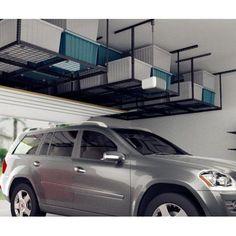 Fleximounts 3x8 Heavy Duty Overhead Garage Adjustable Ceiling Storage Rack, 96 inch Length x 36 inch Width x 40 inch Height, Black