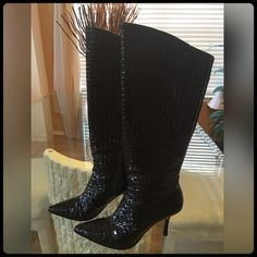BLACK CROC KNEE HIGH BOOTS Excellent Condition! Worn only for a few hours. Heel height is 3 3/4. ❤️ COLOR BLACK J. Renee' Shoes Heeled Boots