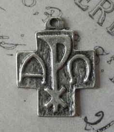Vintage Italian PAX Peace Cross, Labarum Or Chi-Rho Symbol, Roma Holy Medal - I Am The Alpha And The Omega, Religious Medallion