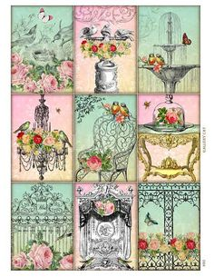 Vintage Bliss whimsical altered art digital collage sheet
