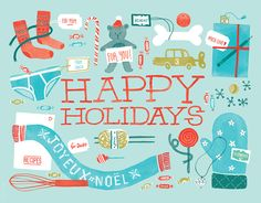 Happy Holidays Blue card by Jacqui Lee on Postable.com