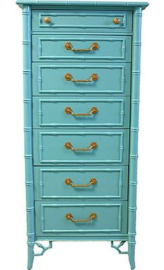 tiffany blue Faux-Bamboo Lingerie Chest #anthropologie #pintowin
