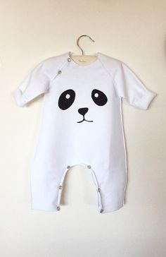 Adorable Panda Romper Panda bodysuit by chocolatineboutique