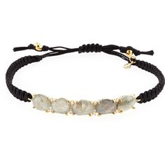 Tai Labradorite Station Bracelet w/Silk Cord ($120) ❤ liked on Polyvore featuring jewelry, bracelets, labradorite, cord jewelry, knot bangle, silk jewelry, adjustable bangle and tai jewelry