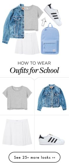 """""""School."""" by peachycrystal on Polyvore featuring Monki, Levi's, adidas and Herschel Supply Co."""