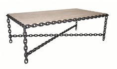 Salvaged Chain and Wood Coffee Table Chain Welded to Form Base of Coffee Table Reclaimed Wood Used for Top Surface Also Available As