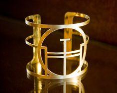 MARTHE_Geometric Art Deco style brass cuff bracelet