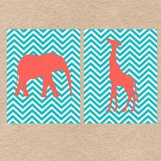 Chevron Jungle Animals Nursery Wall Art DIY Printable Set- Giraffe and Elephant- Aqua & Coral