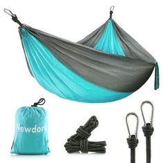 : Newdora Camping Hammocks Garden Hammock Ultralight Portable Nylon Parachute Multifunctional Lightweight Hammocks with 2 x Hanging Straps for Backpacking, Travel, Beach, Yard : Sports & Outdoors Best Camping Hammock, Backpacking Hammock, Portable Hammock, Backpacking Gear, Hiking Gear, Camping Gear, Tent Camping, Rain Camping, Camping Toilet