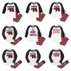 Family Matching Red   Black Plaid Bear Pajamas Matching Christmas Pajamas b27eff02e