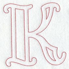 Majestic Letter K (Redwork) - 5 Inch Stencil Lettering, Lettering Design, Free Printable Letter Stencils, Printable Letters, Letter Fonts, Cute Drawings For Him, Easy Drawings, Embroidery Letters, Graffiti Alphabet