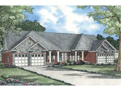 Multi-Family Plan 61367 - One-Story Style Multi-Family Plan with 3008 Sq Ft, 6 Bed, 2 Bath, 4 Car Garage House Plans And More, Family House Plans, Small House Plans, Home And Family, Duplex Floor Plans, House Floor Plans, French Country House Plans, Traditional House Plans, Multi Family Homes