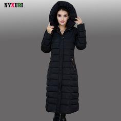 2016 НОВЫЙ Плюс Размер женщины пальто и куртки Зимнее Пальто женщины Женская Мода Вниз хлопка Пальто Удлиняется Куртка с капюшоном Теплая пальто