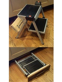 Steel compact folding stool for kitchen use that can be concealed in toe space.
