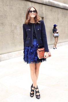 Olivia Palermo's feather skirt#AnFleur